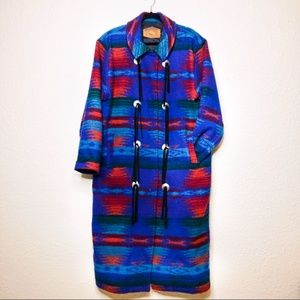 WOOLRICH wool tribal print bolo adorned duster
